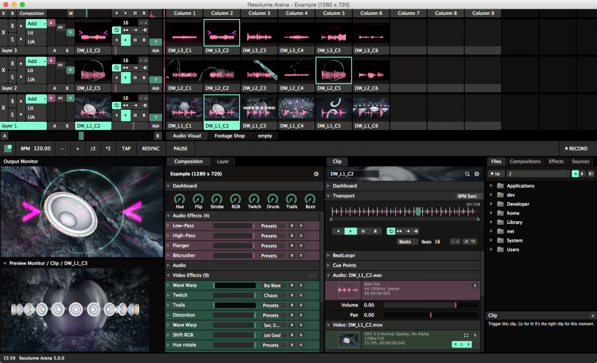 screenshot Best VJ Software - Resolume_Arena_5