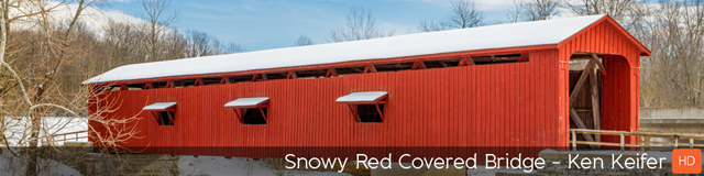 Snowy Red Covered Bridge - TripleWide Media