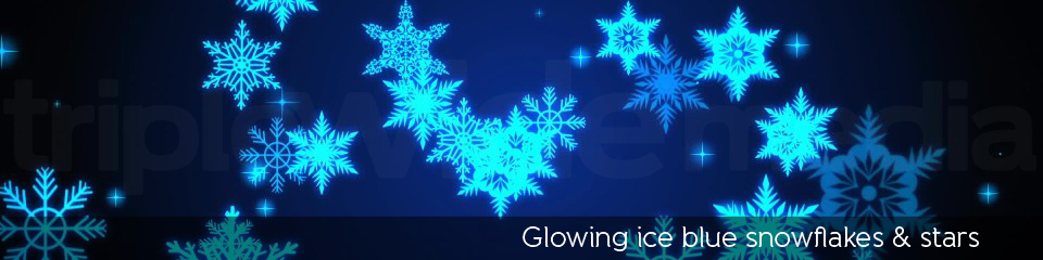 Glowing ice blue snowflakes & stars | TripleWide Media