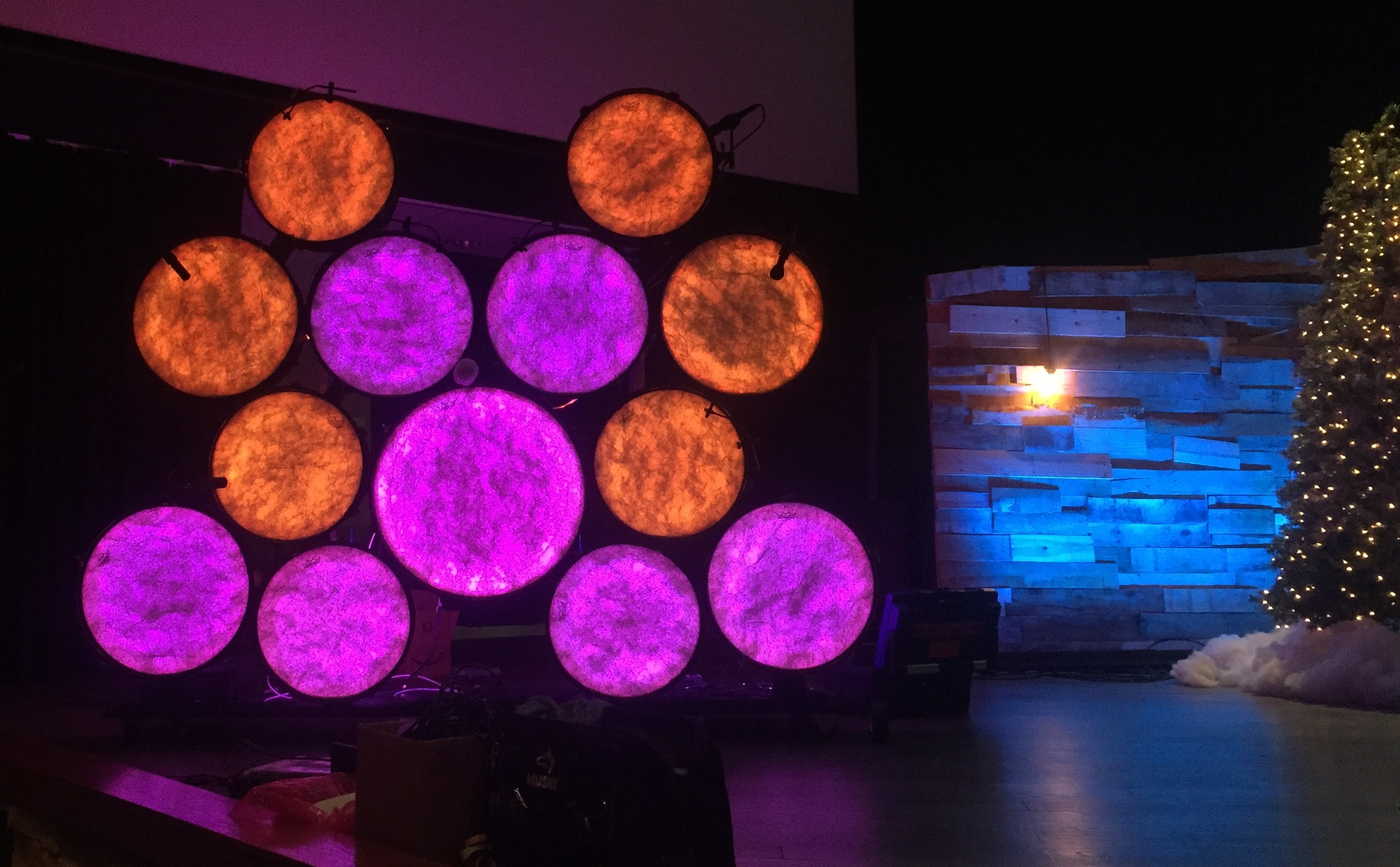 Glowing LED Drum Wall | TripleWide Media