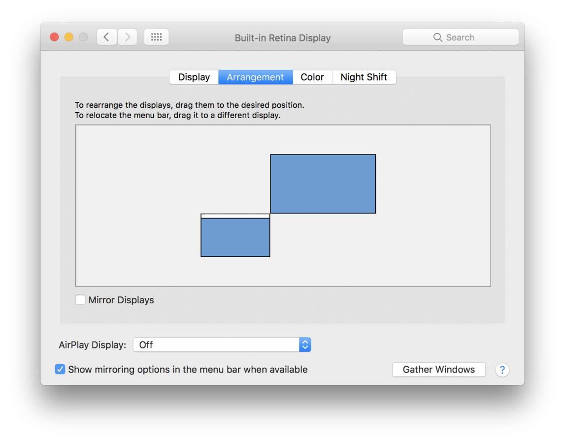 Screen Position - System Preferences
